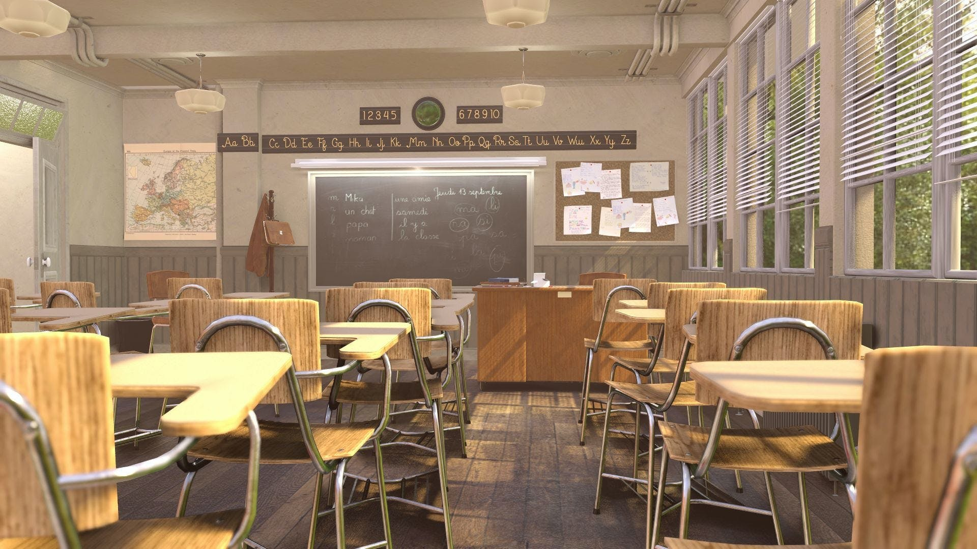 A high-quality render of the Blender Classroom scene.