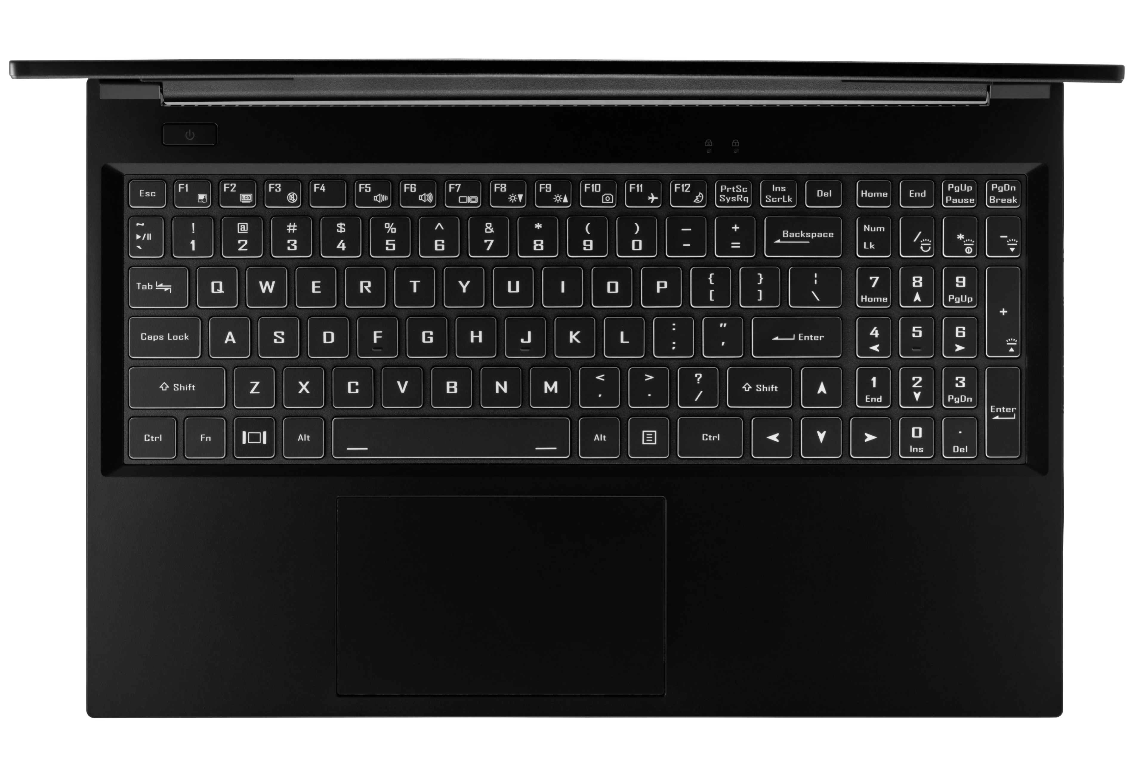 A top-down view of the Pangolin laptop's chiclet keyboard.