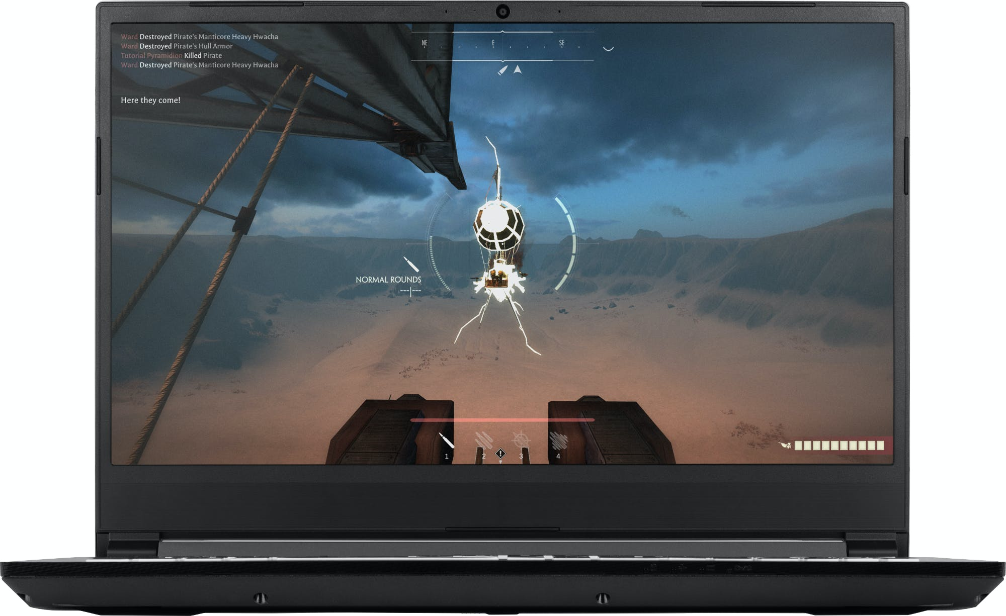 The Gazelle laptop running the Airship video game.