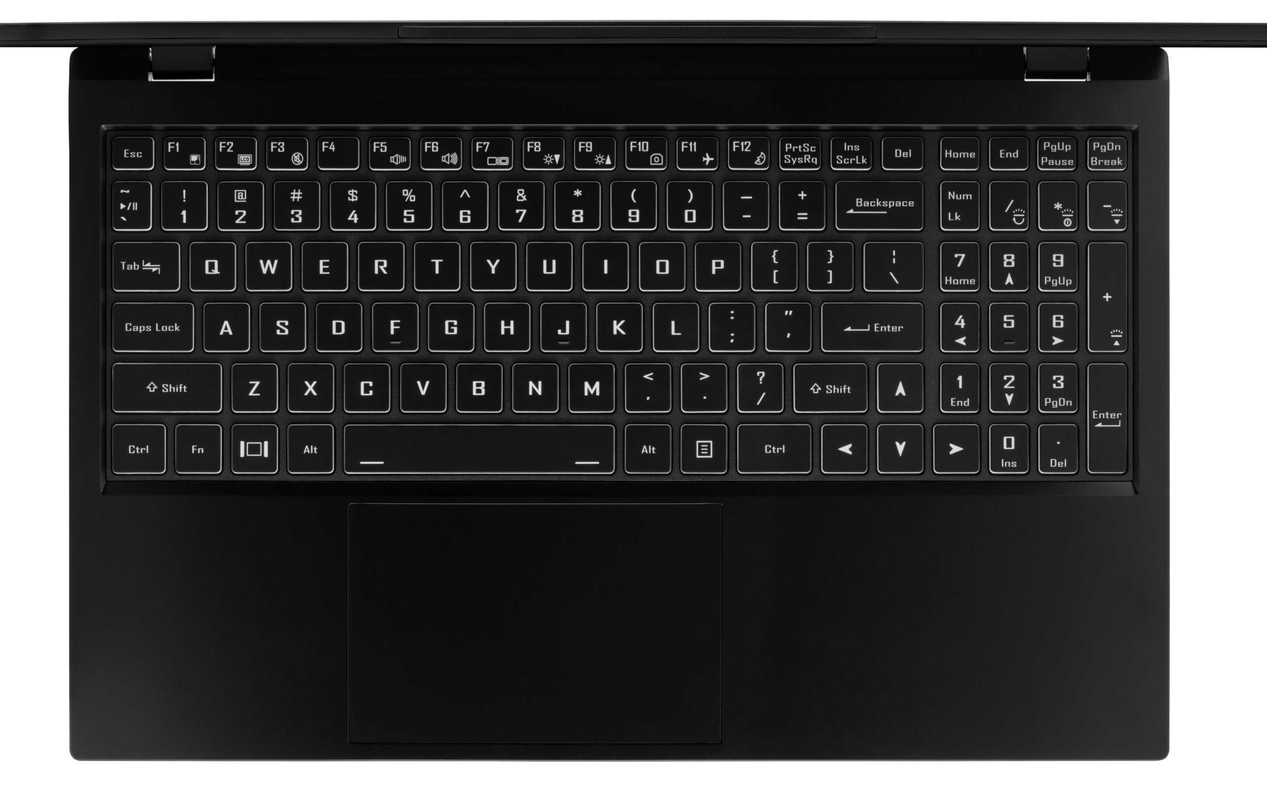 A top-down view of the Darter Pro laptop's tactile numeric keyboard and large trackpad.