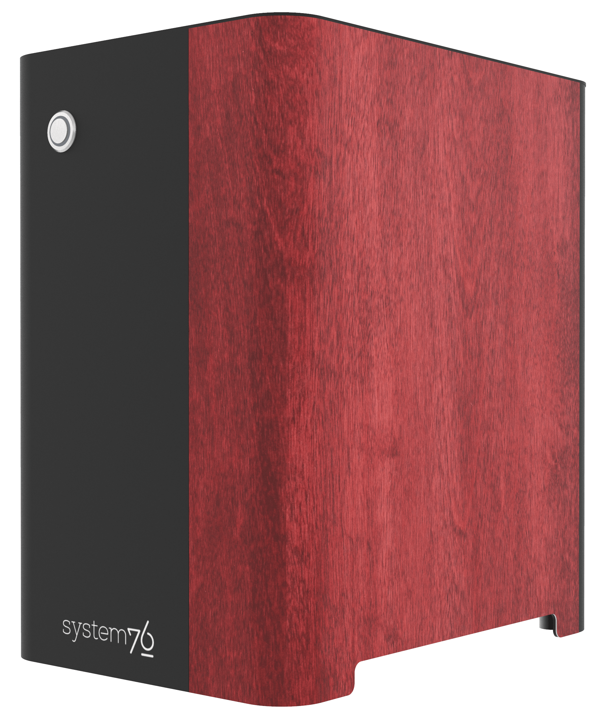 Side view of the machine showing birch veneer component, hand-polished, and stained red.