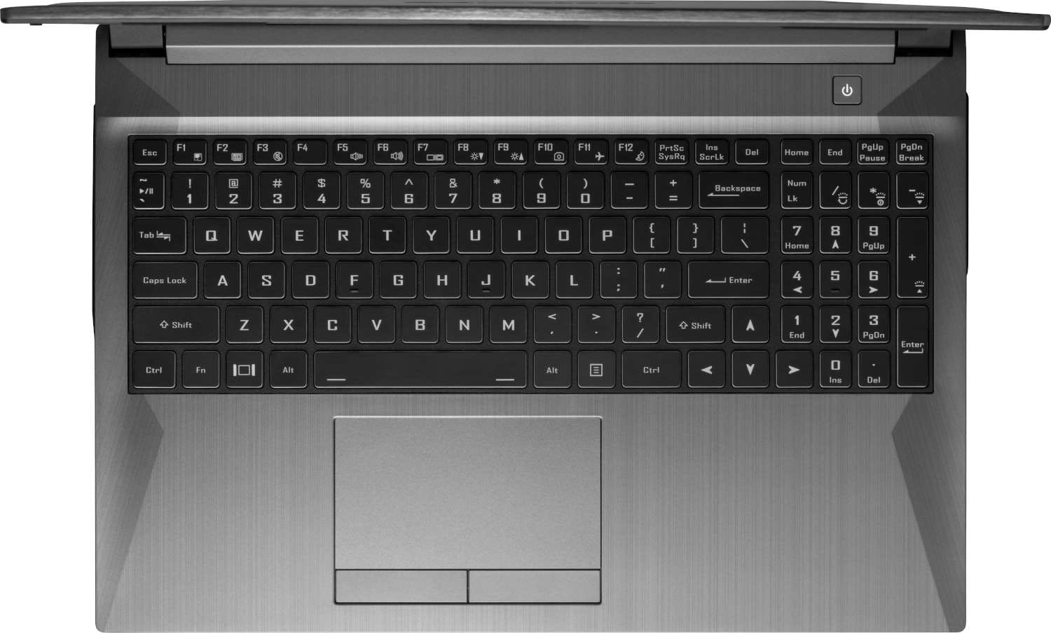 A top-down view of the Gazelle laptop's tactile numeric keyboard.