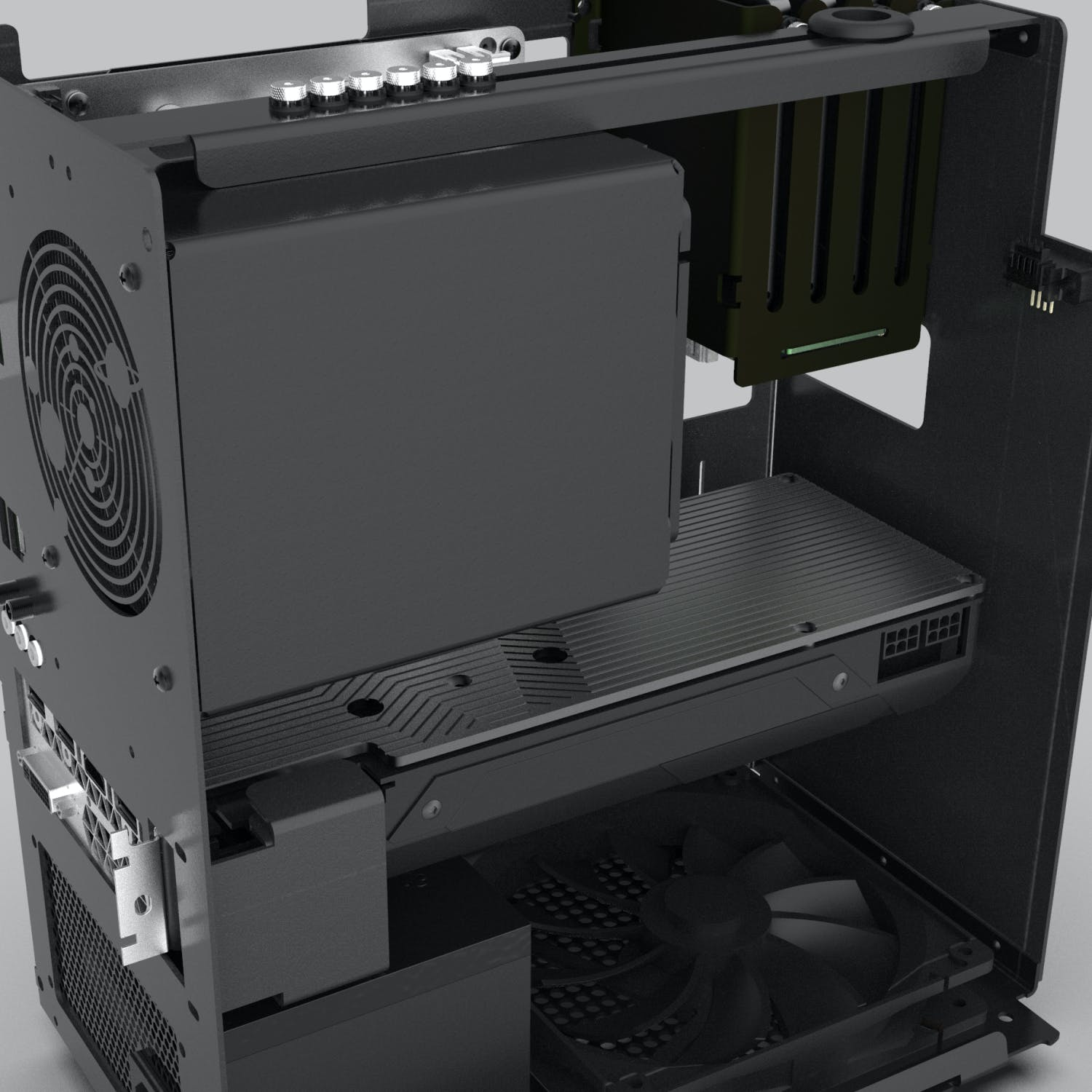Close view of the machine interior with GPU and intake fan.