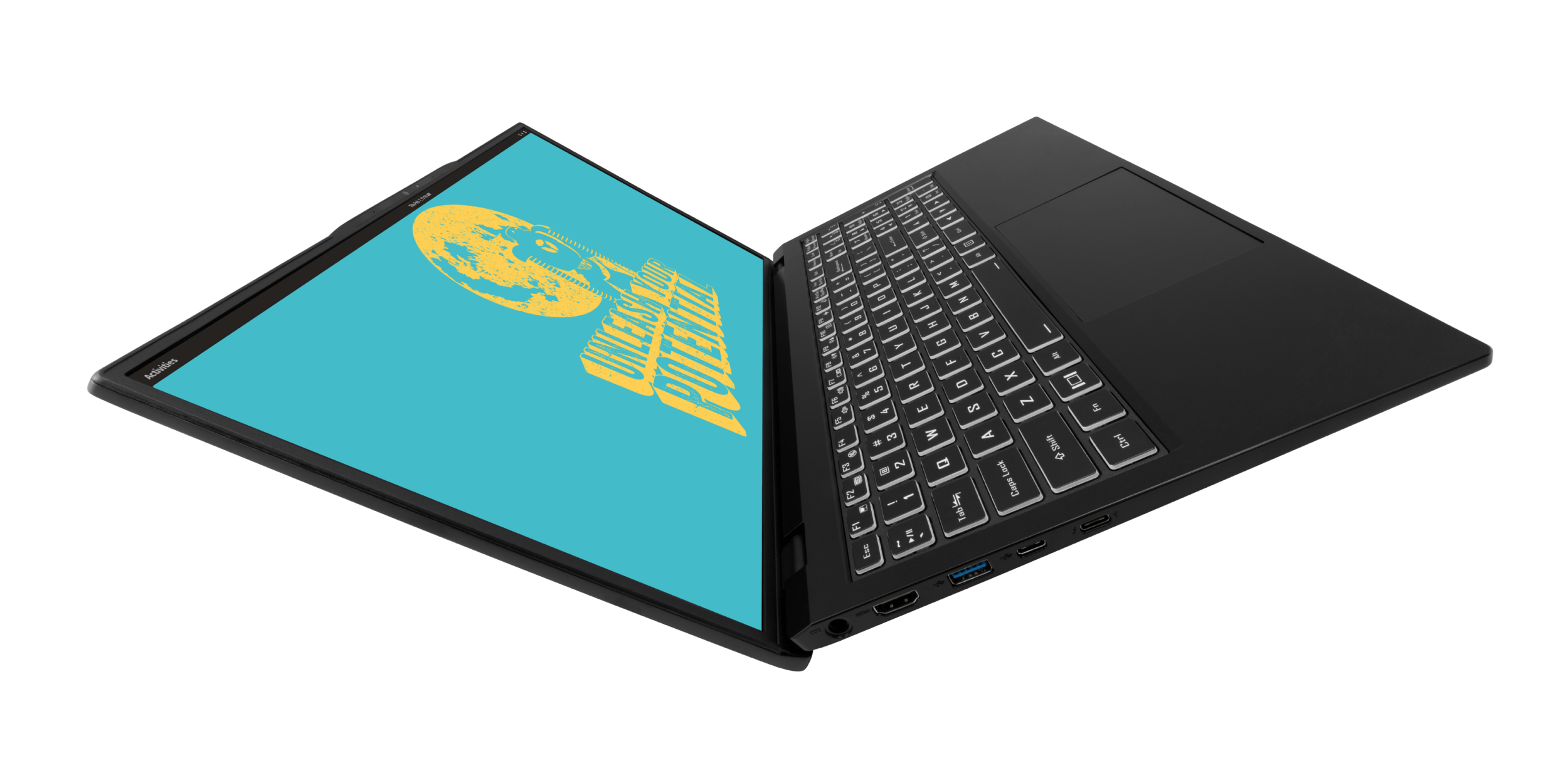 The Darter Pro laptop opened to a V-shape, showing off its sleek chassis design.