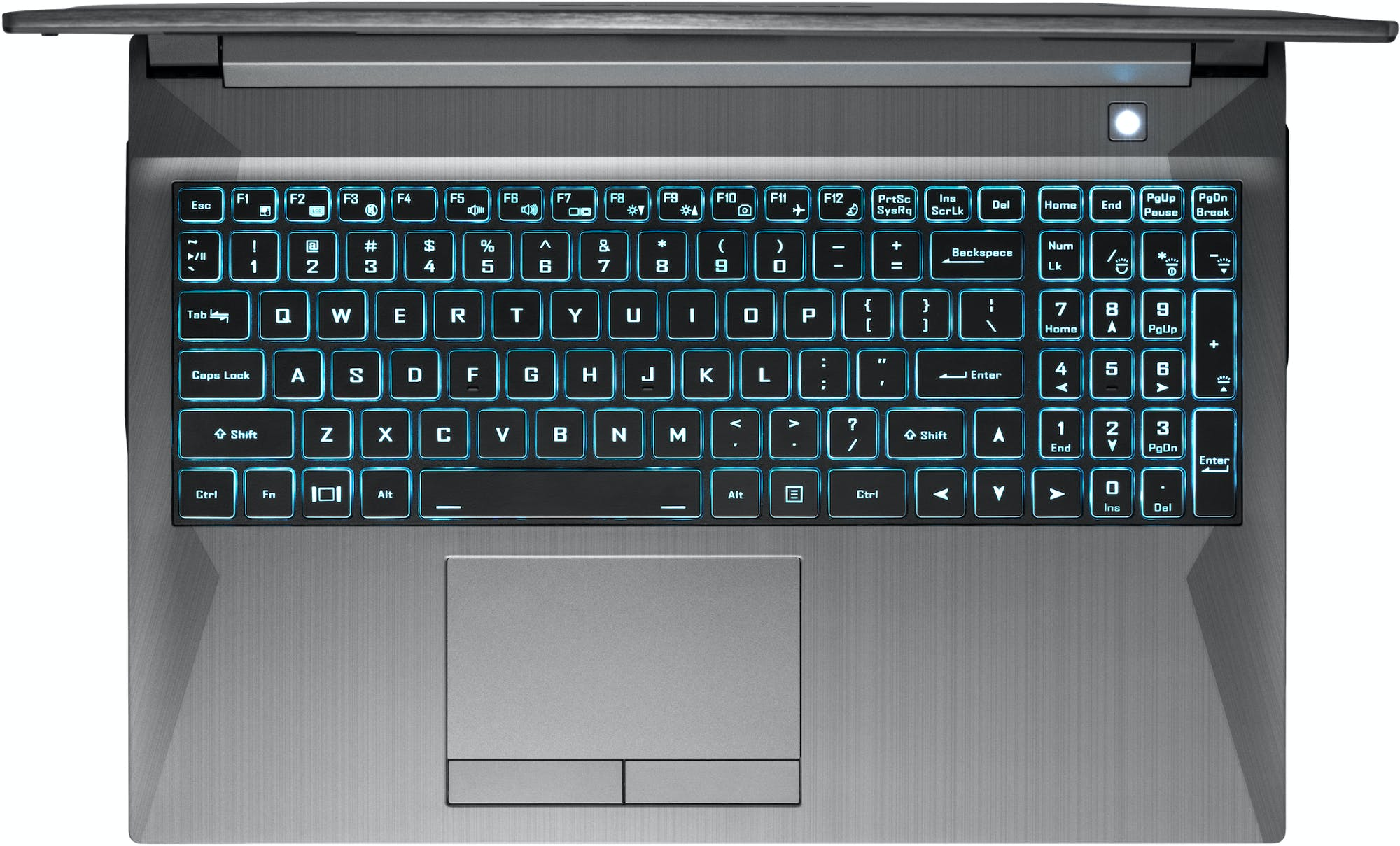 A top-down view of the Gazelle laptop's tactile backlit numeric keyboard and physical mouse buttons.
