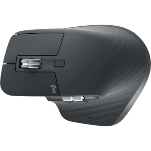 USB-C rechargeable right-handed wireless mouse, with a wide support for the thumb.
