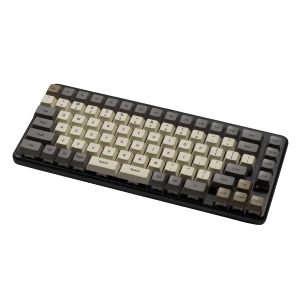 A top-down view of the Launch, a tenkeyless keyboard with a powder-coated black aluminum chassis and tactile key caps.