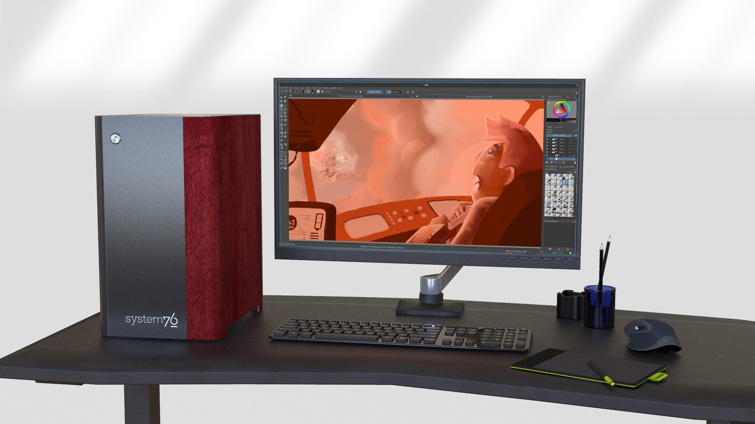 Desk setup with Thelio, external monitor, keyboard, glasses and a coffee mug.