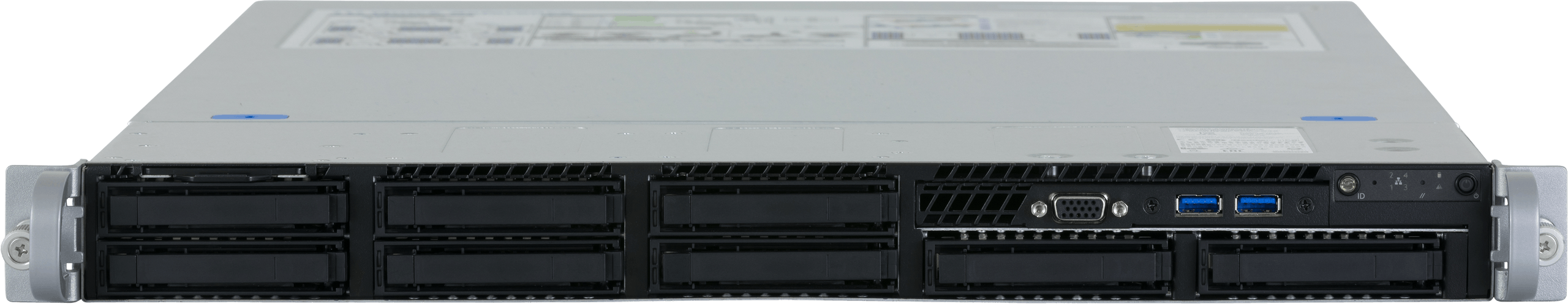 A front-facing view of the Jackal Pro 1U server, featuring VGA out and USB-A 3.0 ports.