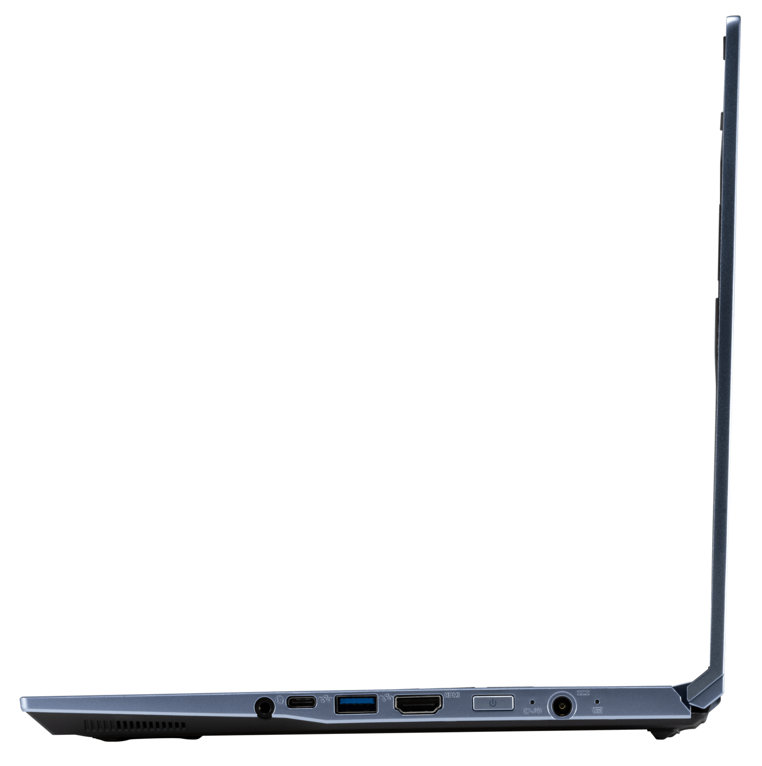 A right profile view of the Galago Pro laptop's ports, including audio jack, USB-C, USB, HDMI, and charging port.
