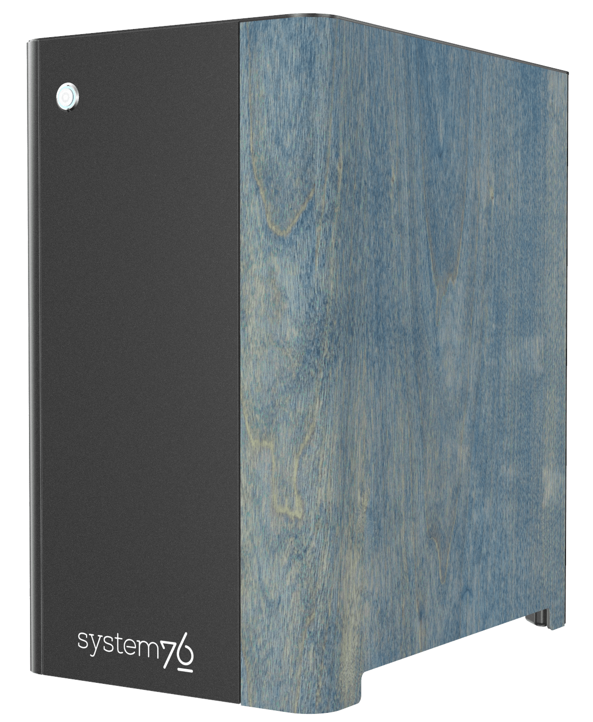 Side view of Thelio Major's Neptune Blue-stained birch wood veneer.