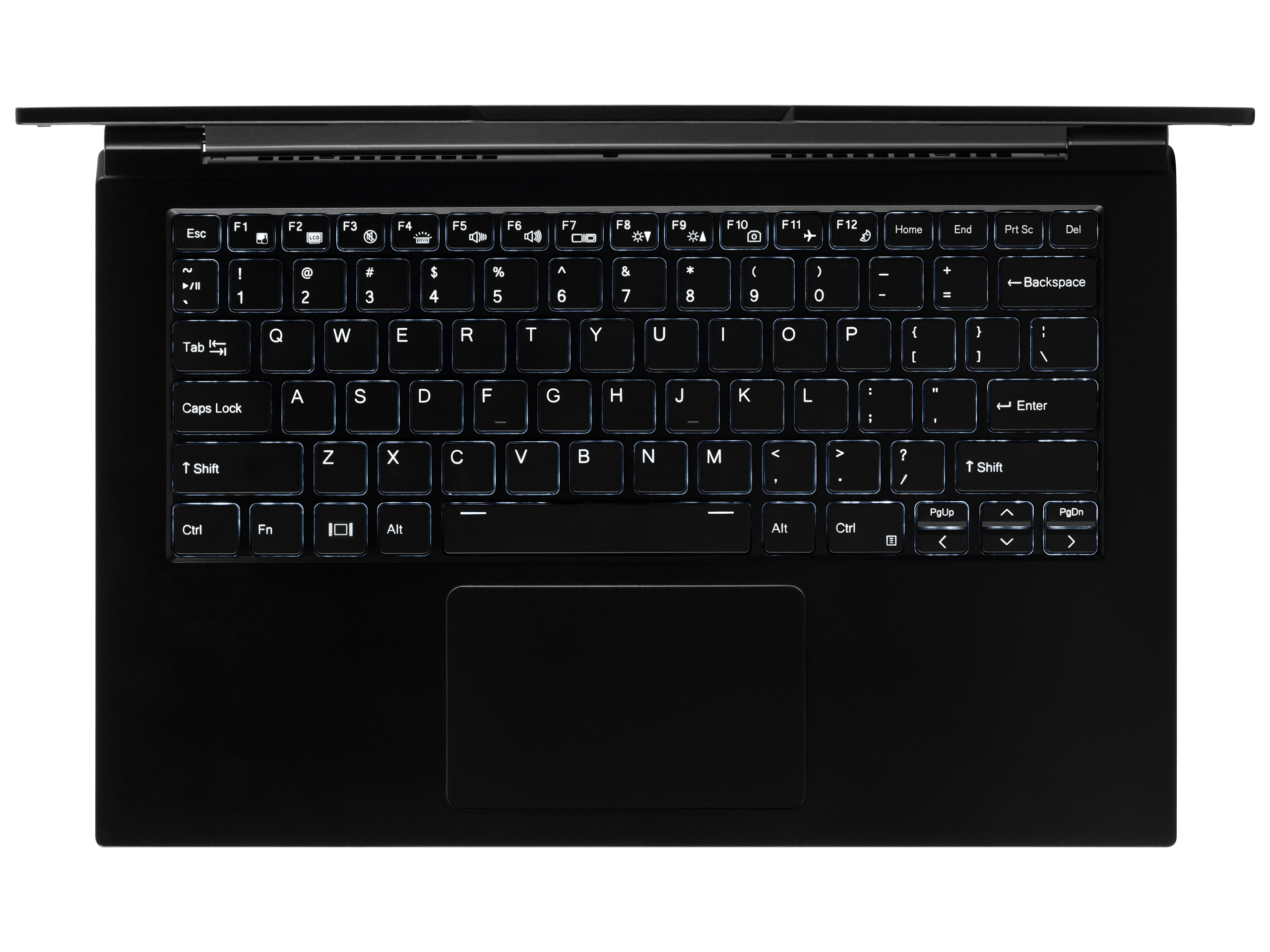 A top-down view of the Lemur Pro laptop's tactile numeric keyboard and large trackpad.
