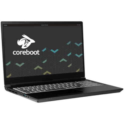 The Oryx Pro laptop with the Pop!_OS wallpaper on screen.