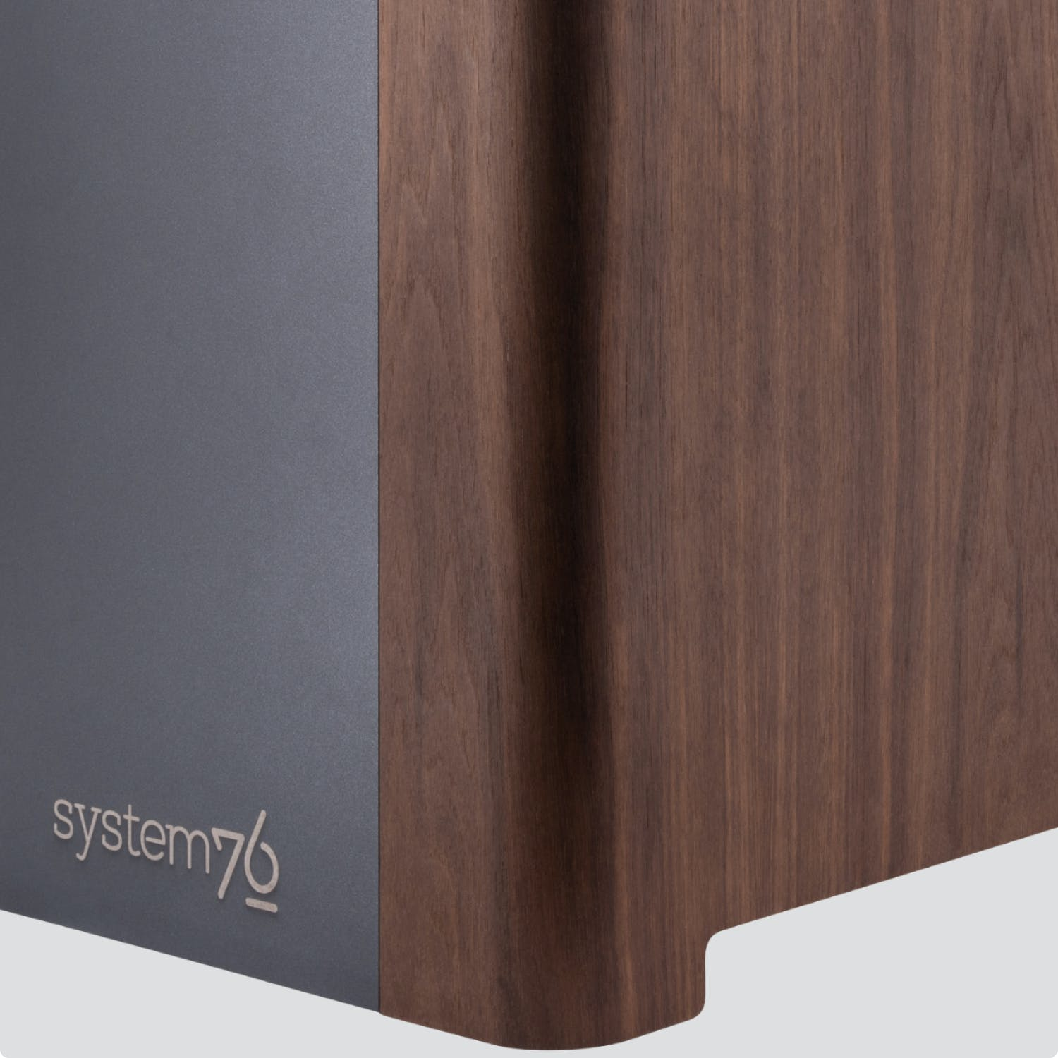 Detail of the exterior showing combination of wood veneer and powder-coated aluminum.