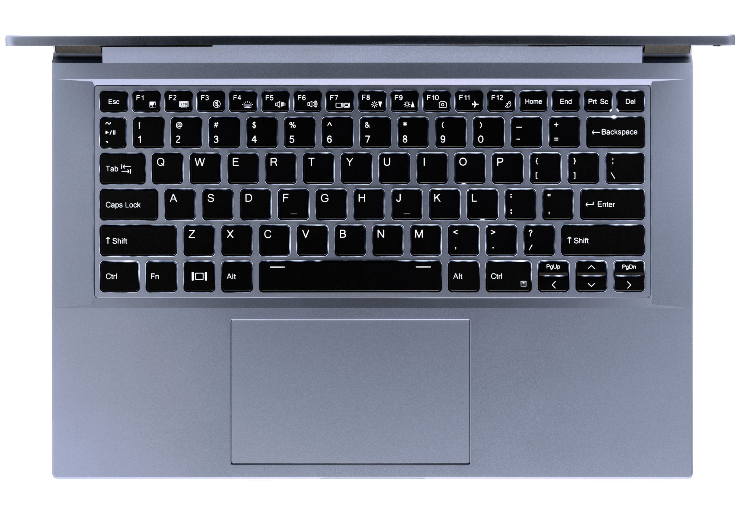 A top-down view of the Galago Pro laptop's backlit tenkeyless keyboard and large trackpad.
