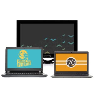 A collection of System76 laptops and displays showing different background art.