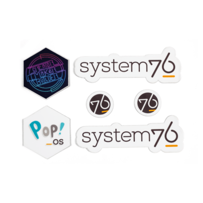 A collection of stickers showcasing various System76 designs.