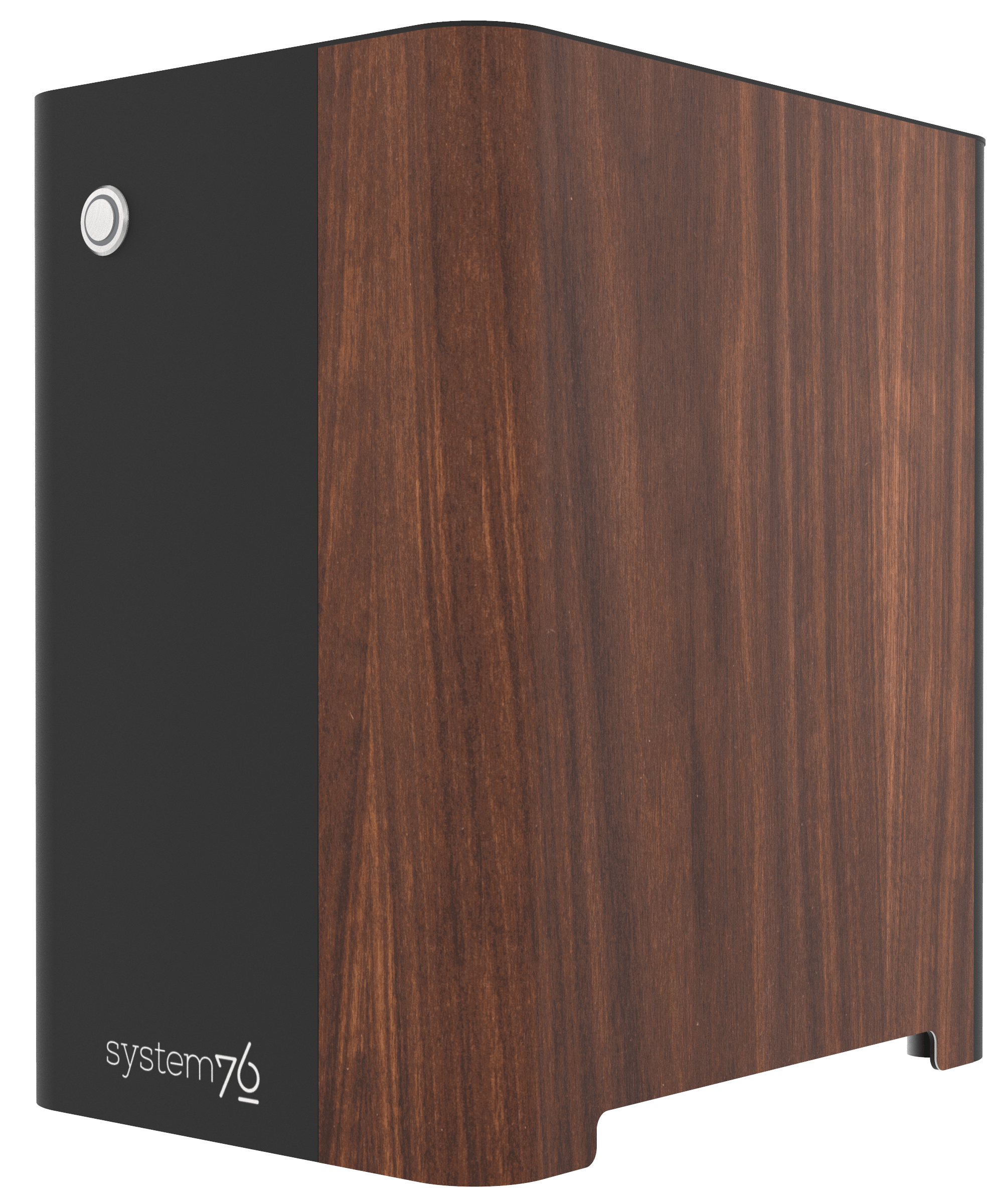 Side view of the machine showing walnut veneer component.