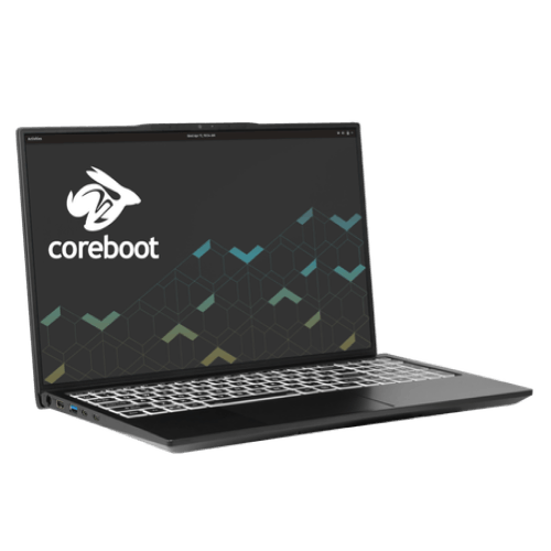 The Darter Pro featuring the logo of the laptop's firmware base, Coreboot.