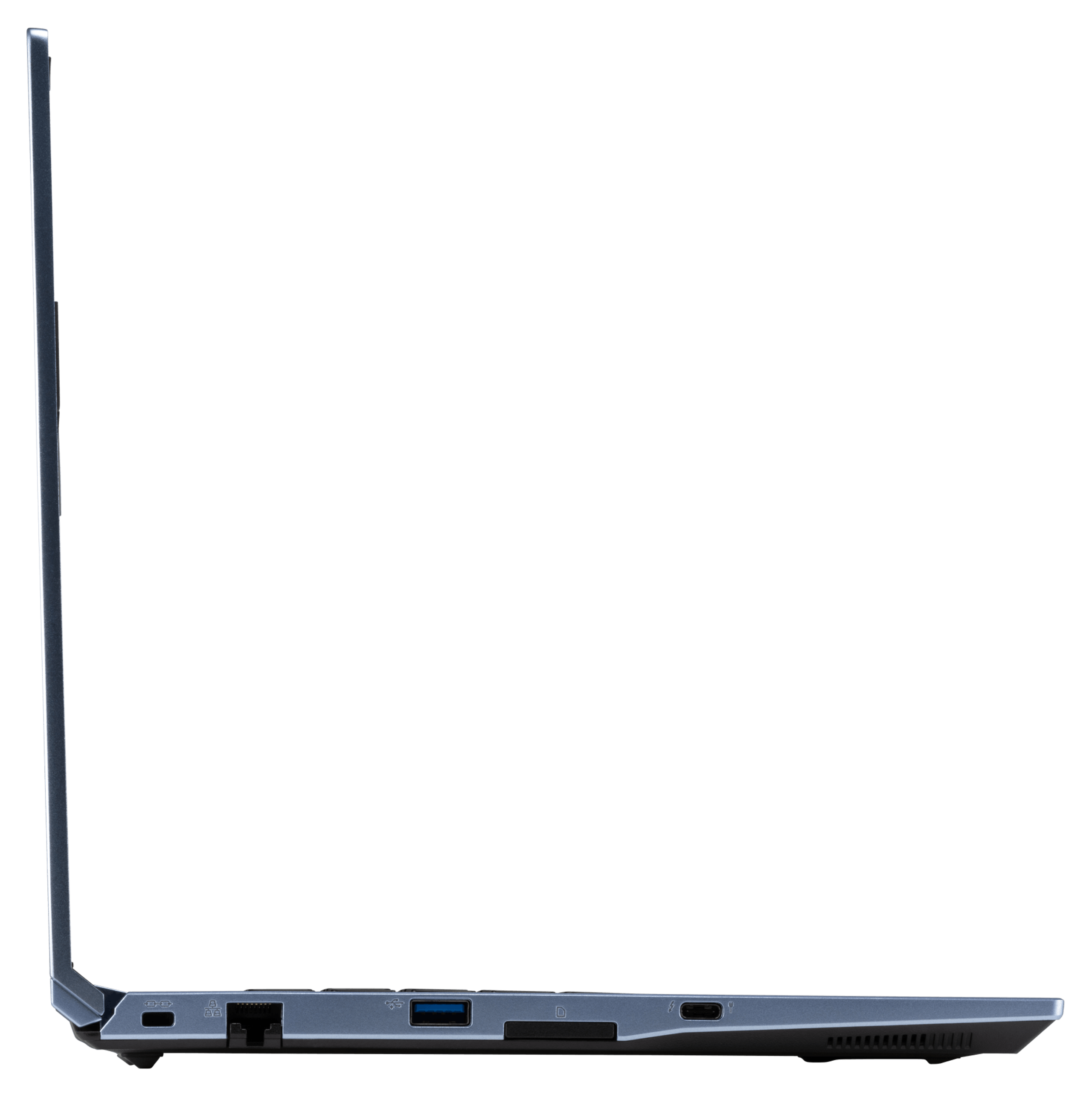 A left profile view of the Galago Pro laptop's ports, namely Kensington Lock, Ethernet, USB, SD card slot, and Thunderbolt.