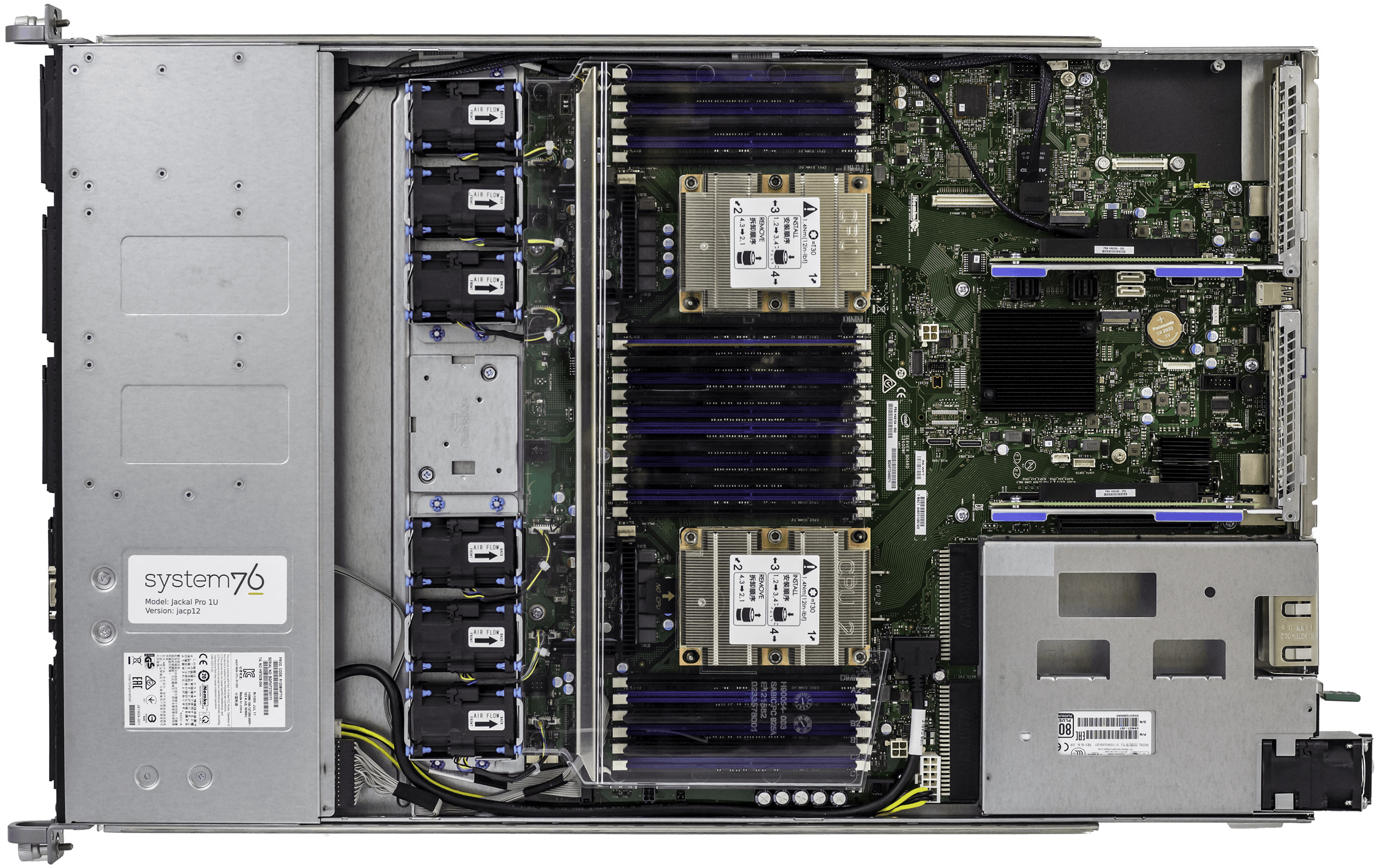 The inner workings of the Jackal Pro 1U, with all hardware exposed.