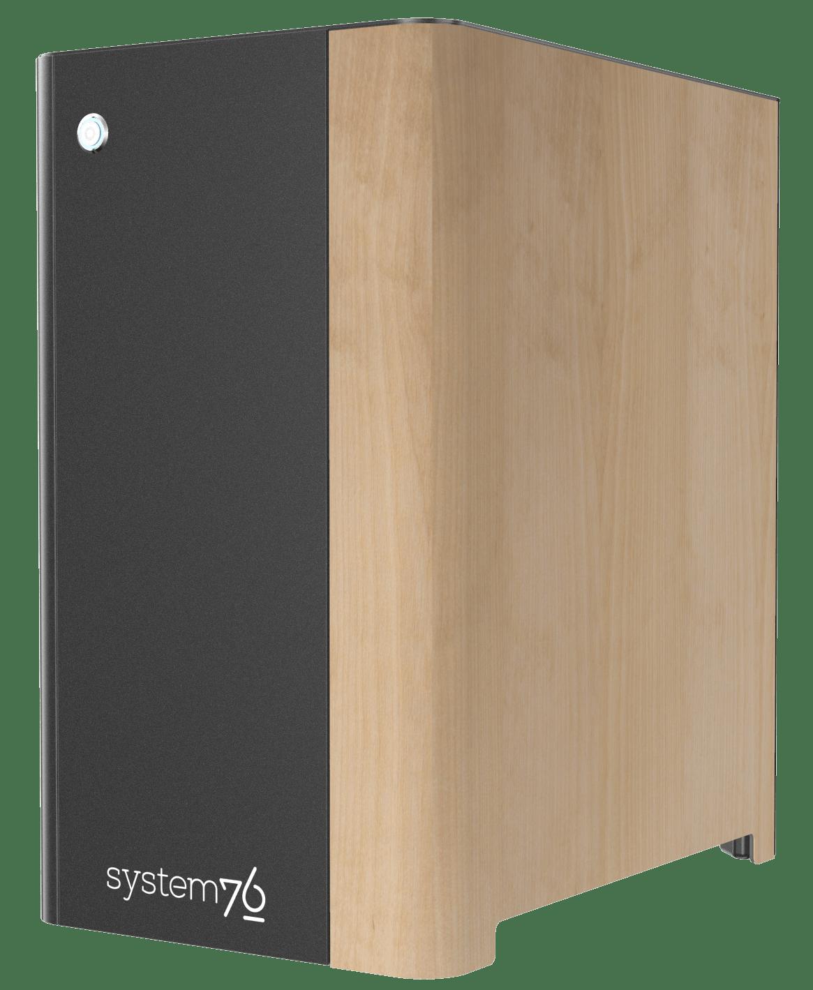 Side view of Thelio Major's birch wood veneer.