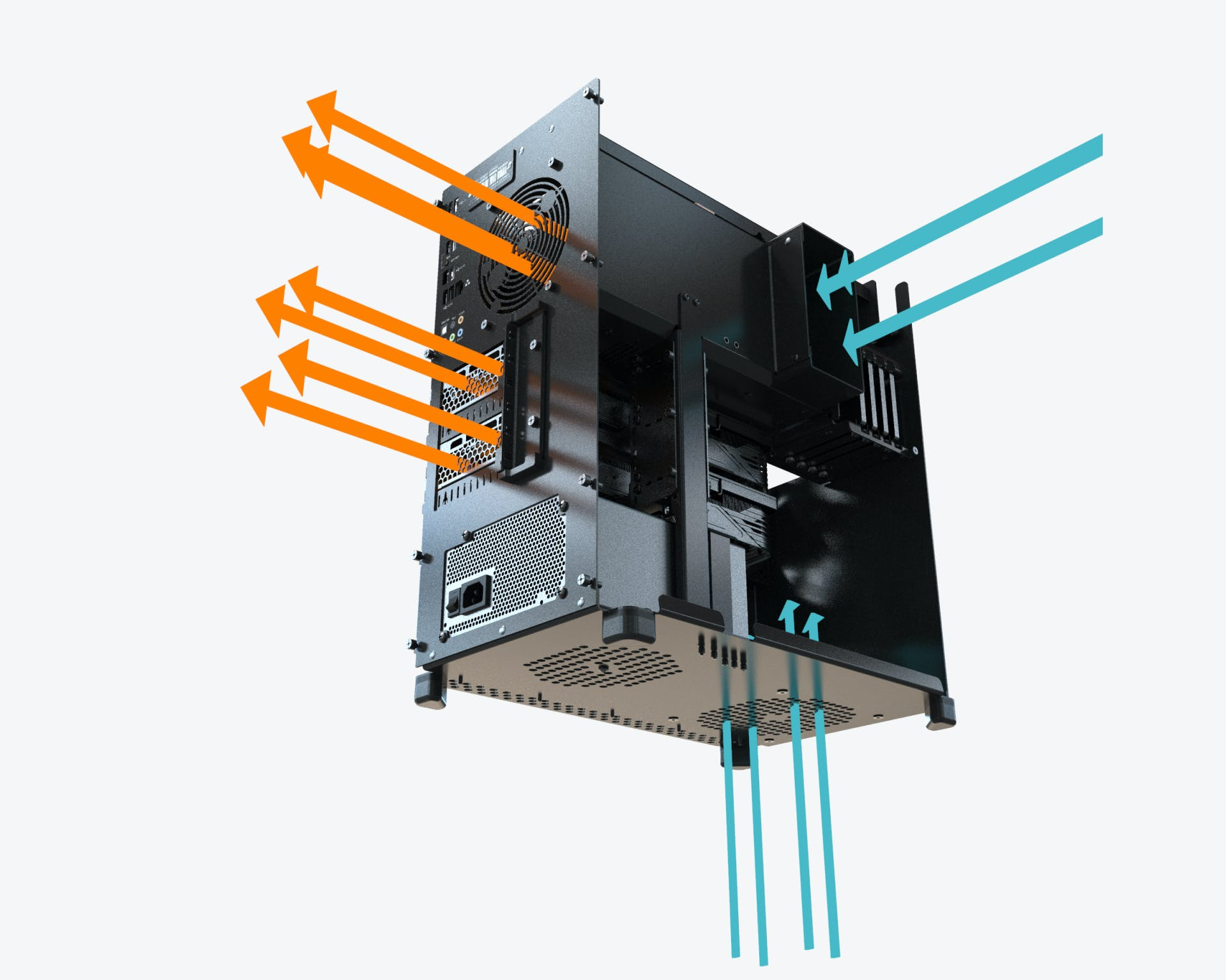 The air flows through the duct to cool the CPU, and is separated from the airflow cooling the GPU.