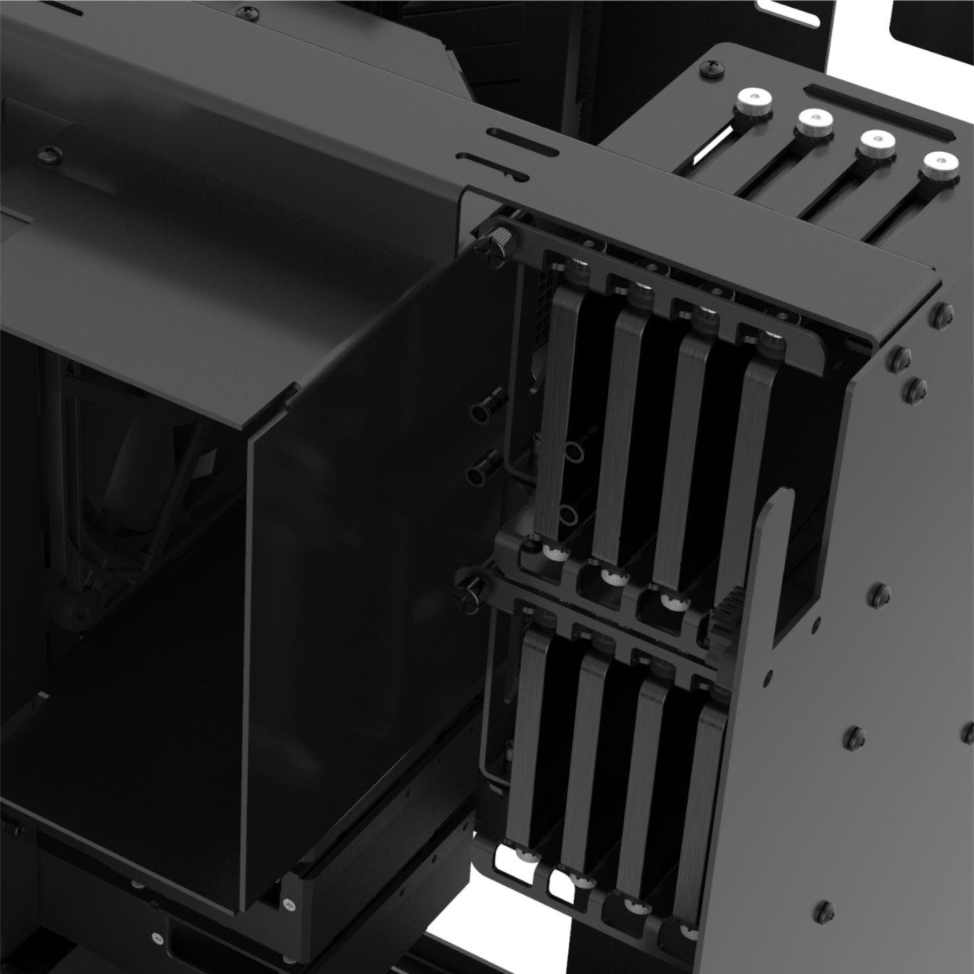 Detail of the machine interior showing storage drives inside the aluminum cages.
