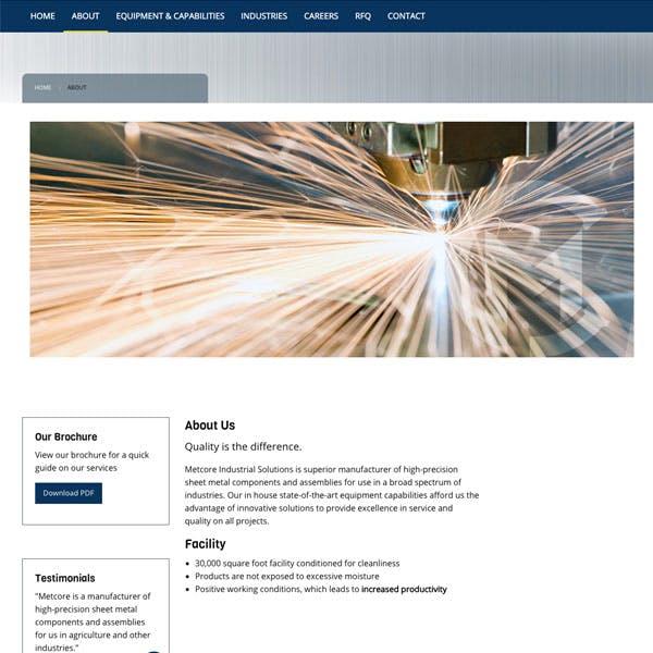 Portfolio Screenshot 3 for Metcore Industrial Solutions
