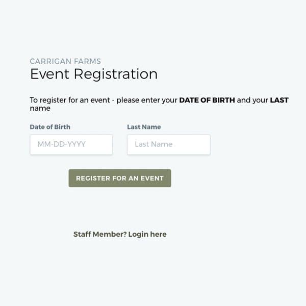 Portfolio Screenshot 4 for Carrigan Farms - Event Registration