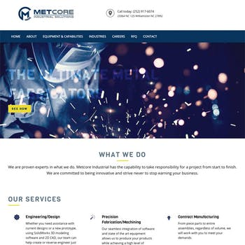 Portfolio Screenshot for Metcore Industrial Solutions