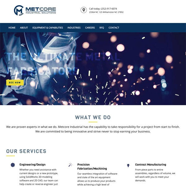 Portfolio Screenshot 1 for Metcore Industrial Solutions