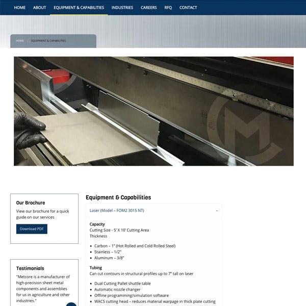 Portfolio Screenshot 2 for Metcore Industrial Solutions