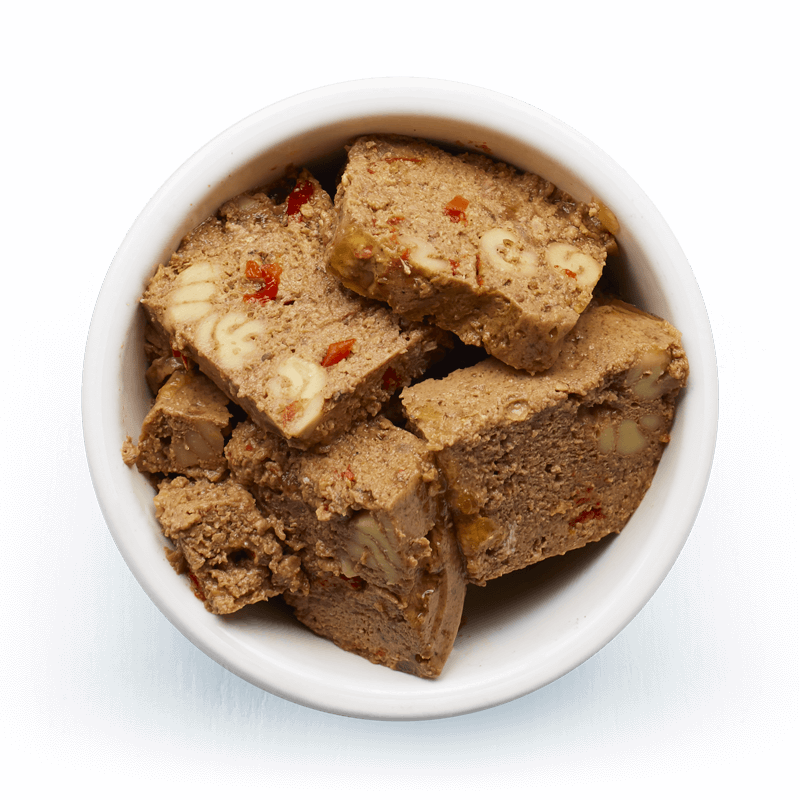 An image of Tails wet food. Rich & meaty terrine with beef, pasta & peppers.