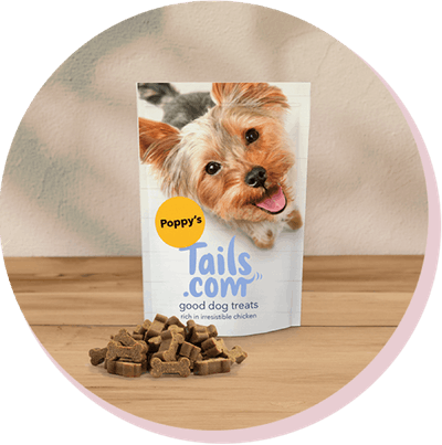 Image of good dog treats with poppy's name