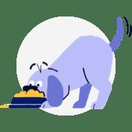 dog eating food illlustration
