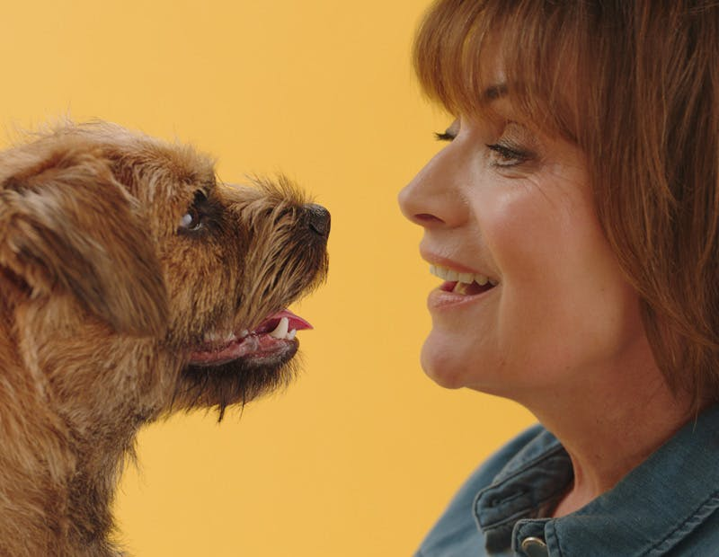 Lorraine Kelly with her dog fed tails.com
