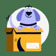 dog in box illustration