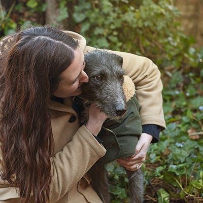 Martina and Blue (the lurcher rescue dog)