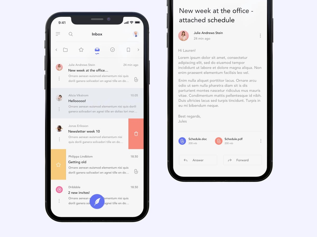 Image of Gmail design explaining single page applications