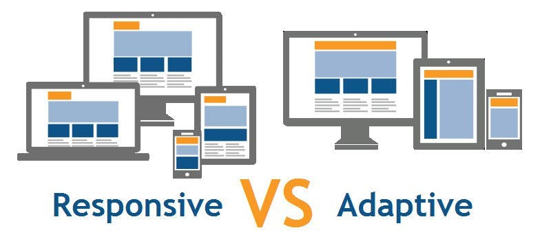 Image explaining the difference between responsive and adaptive design