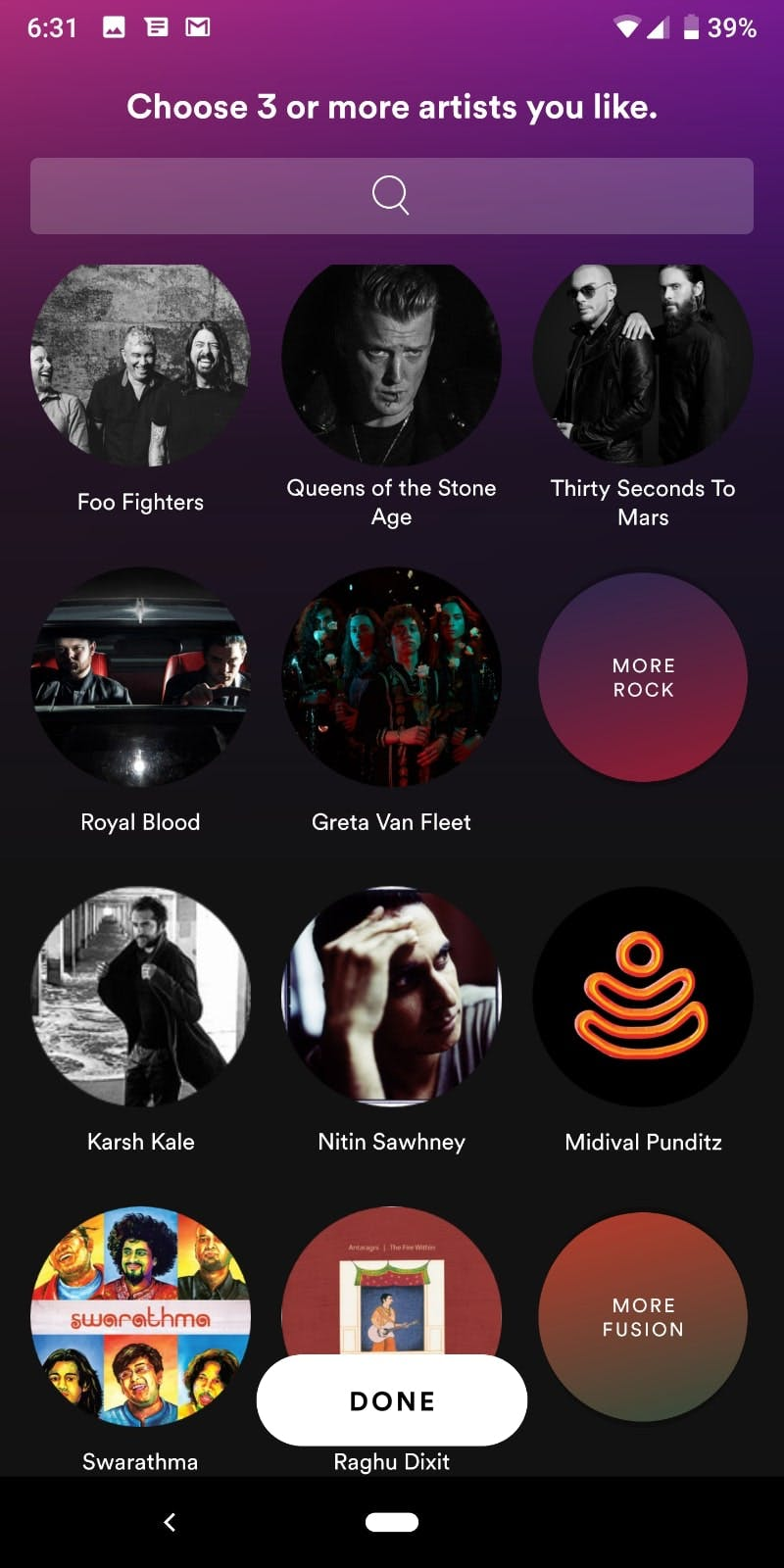 image of combination of checkbox and card being used in spotify