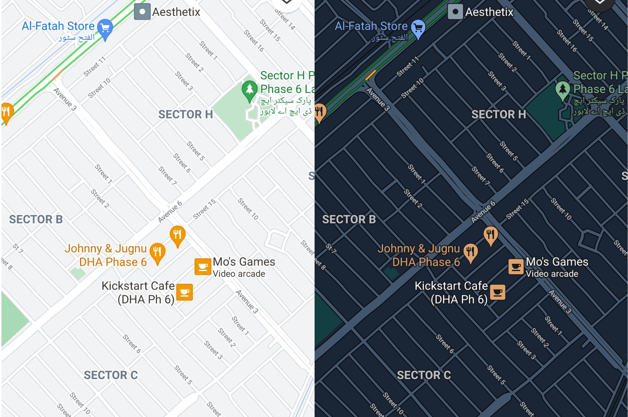 image of google maps in light and dark mode