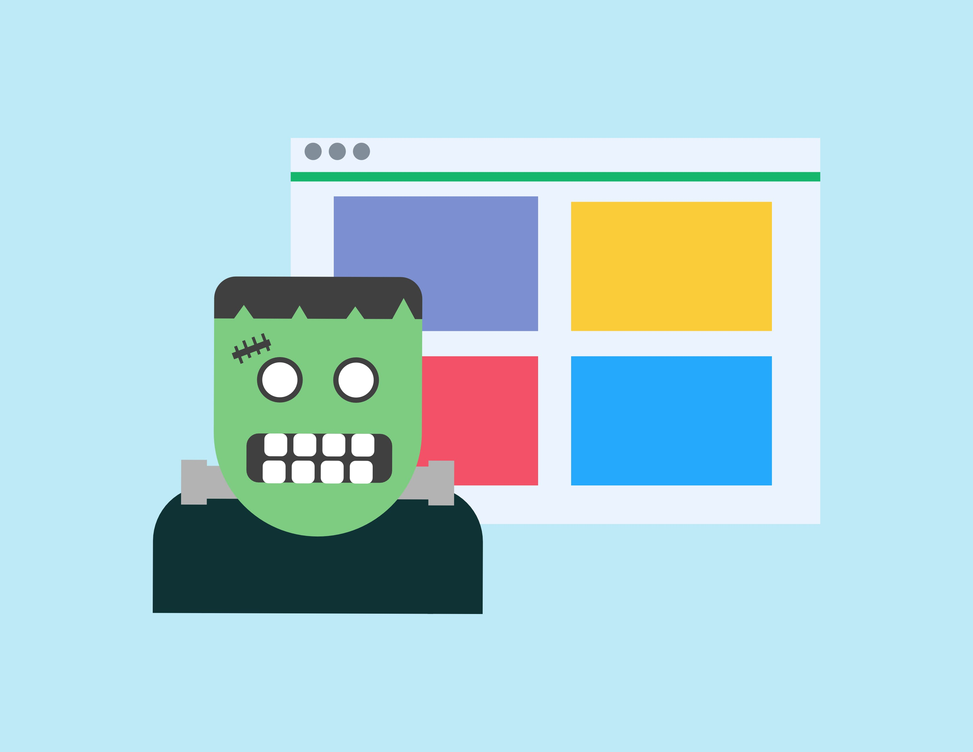 Image of Frankenstein in front of a web page
