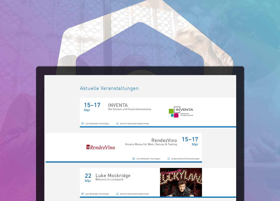 Event calendar for desktop and mobile via EventHUB