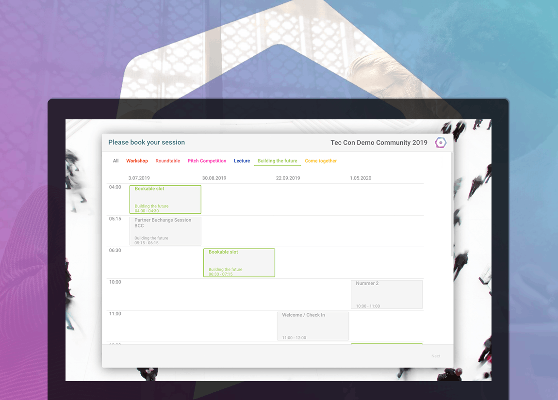 session booking form scheduler for different formats