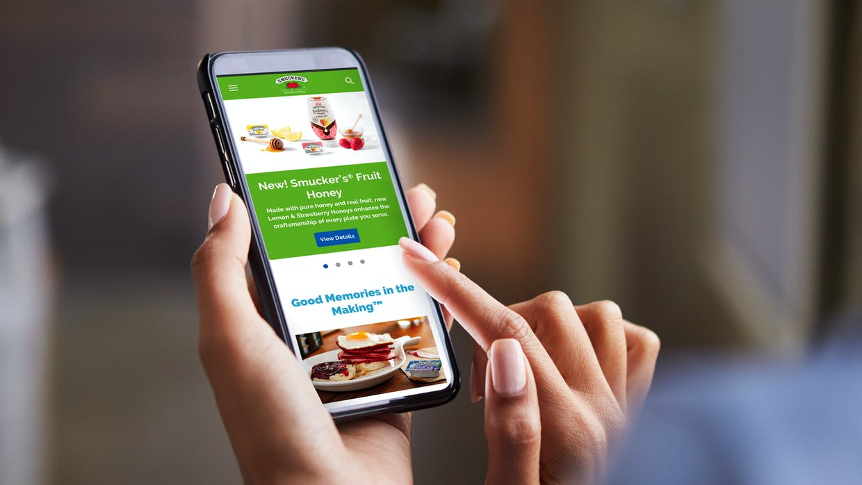 Smucker Away From Home Website Redesign Mobile View