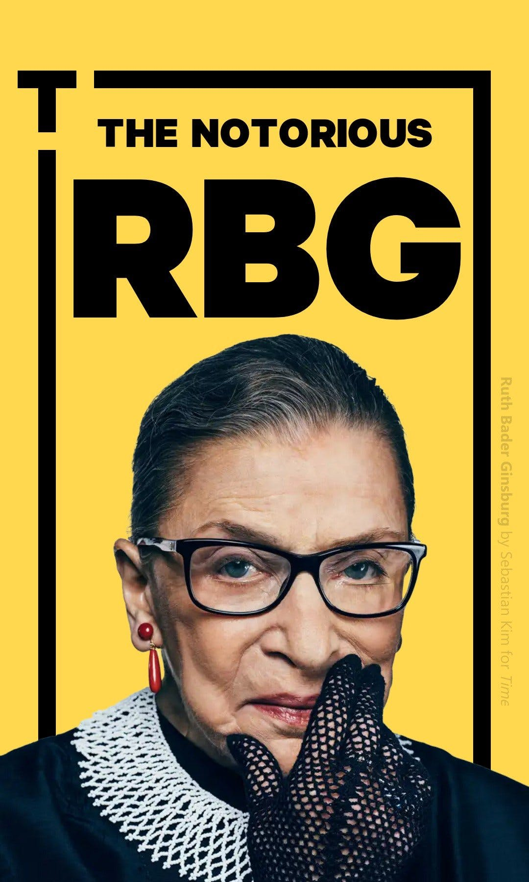 Cover of a tappable web Story highlighting RBG's career