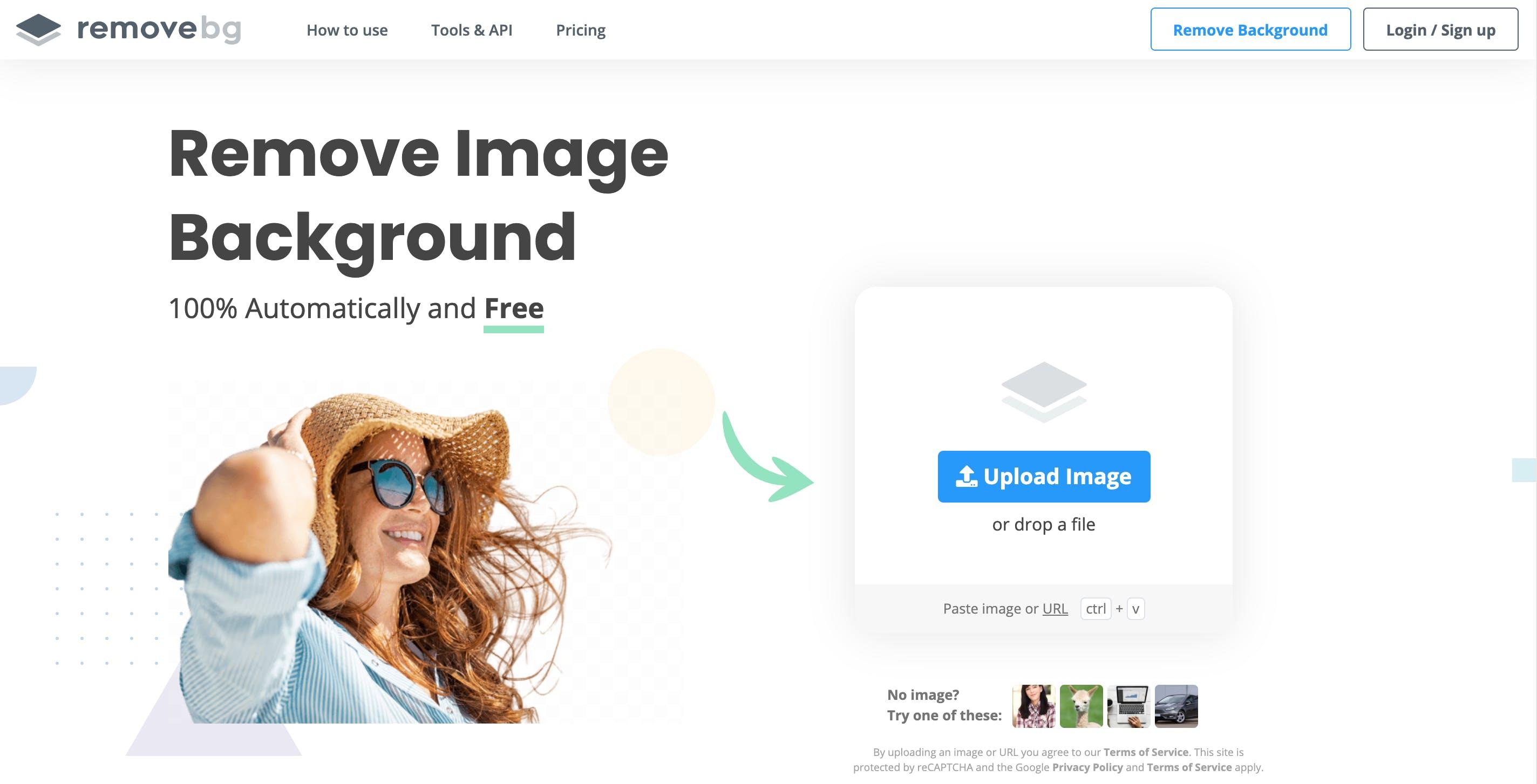 Screenshot of remove.bg homescreen