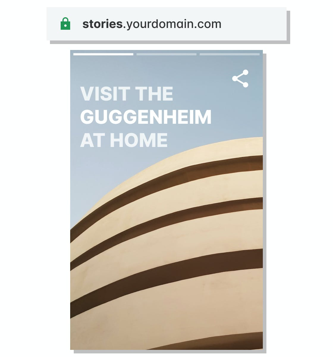 Composition of a cover page of a web story with a navigation bar